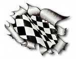 Ripped Torn Metal Design With Race Style Chequered Flag Motif External Vinyl Car Sticker 105x130mm